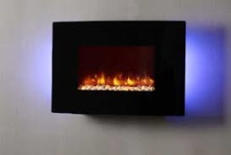 Dynasty wall mount or recessed curved electric fireplace 36